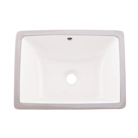 DAX Ceramic Square Single Bowl Undermount Bathroom Sink, White Finish, 18-1/2 x 8-1/16 x 13-9/16 Inches (BSN-202C-W)