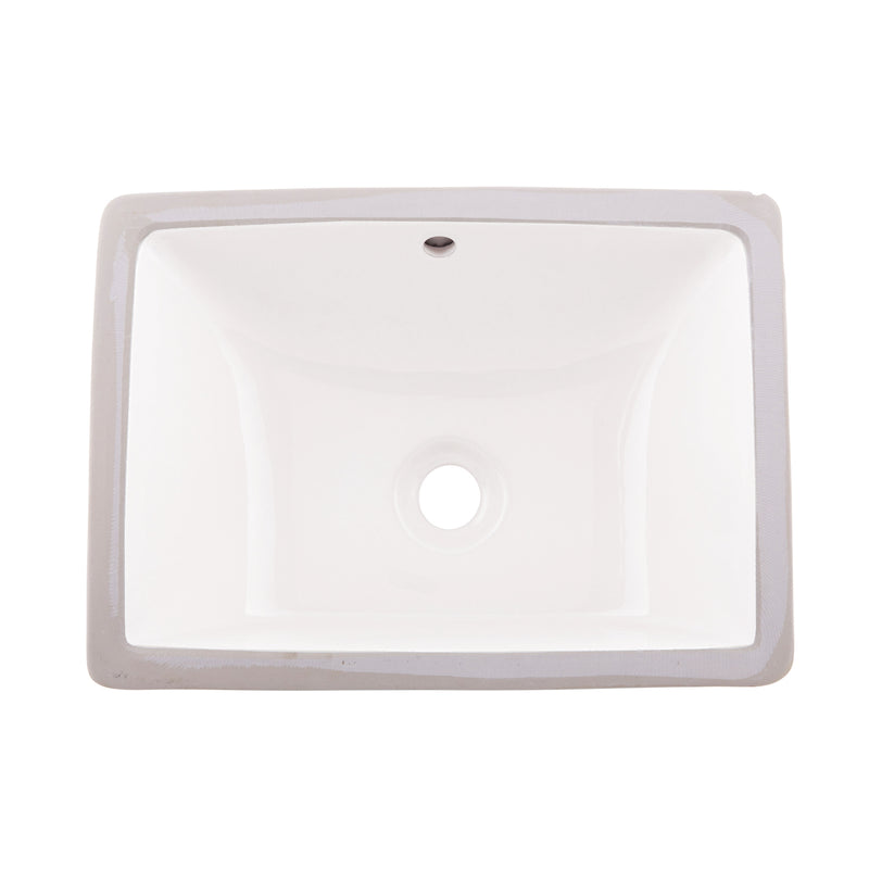 DAX Ceramic Square Single Bowl Undermount Bathroom Sink, White Finish, 18-1/2 x 13-9/16 x 8-1/16 Inches (BSN-202C-W)