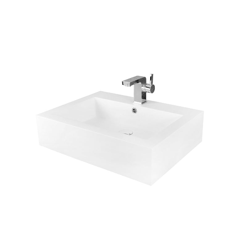 DAX Solid Surface Rectangle Single Bowl Bathroom Vessel Sink, White Matte Finish,  24 x 18-1/8 x 6 Inches (DAX-AB-032)