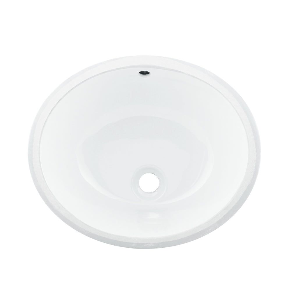Dax Ceramic Oval Single Bowl Undermount Bathroom Sink White Finish 1