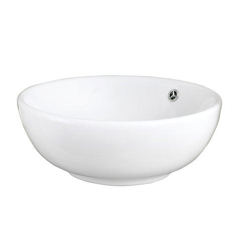 DAX Ceramic Round Single Bowl Bathroom Vessel Sink, White Finish, Ø 17 x 6-11/16 Inches (BSN-215-W)