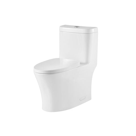 DAX One Piece Oval Toilet with Soft Closing Seat and Dual Flush High-Efficiency, Porcelain, White Finish, Height 29-3/4 Inches (BSN-CL12243)