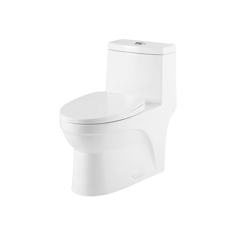 DAX One Piece Oval Toilet with Soft Closing Seat and Dual Flush High-Efficiency, Porcelain, White Finish, Height 16-9/16 Inches (BSN-CL12050A)