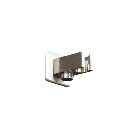 DAX Hand Held Shower Holder, Square Line, Brass Body, Wall Mount, Brushed Nickel Finish, 2-1/4 x 1 x 2-1/2 Inches (D-B51-BN)