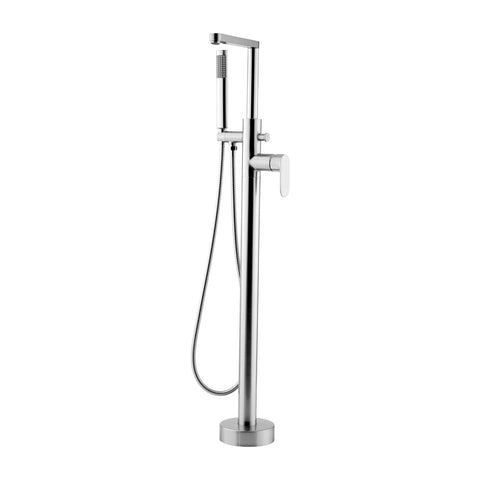 DAX Freestanding Hot Tub Filler with Hand Shower and Square Spout, Stainless Steel Body, Brushed Finish, 40-1/2 x 8-1/2 Inches (DAX-808-BN)