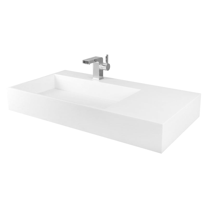 DAX Solid Surface Rectangle Single Bowl Top Mount Bathroom Sink, White Matte Finish,  35-2/5 x 18-7/8 x 5-1/8 Inches (DAX-AB-1366)