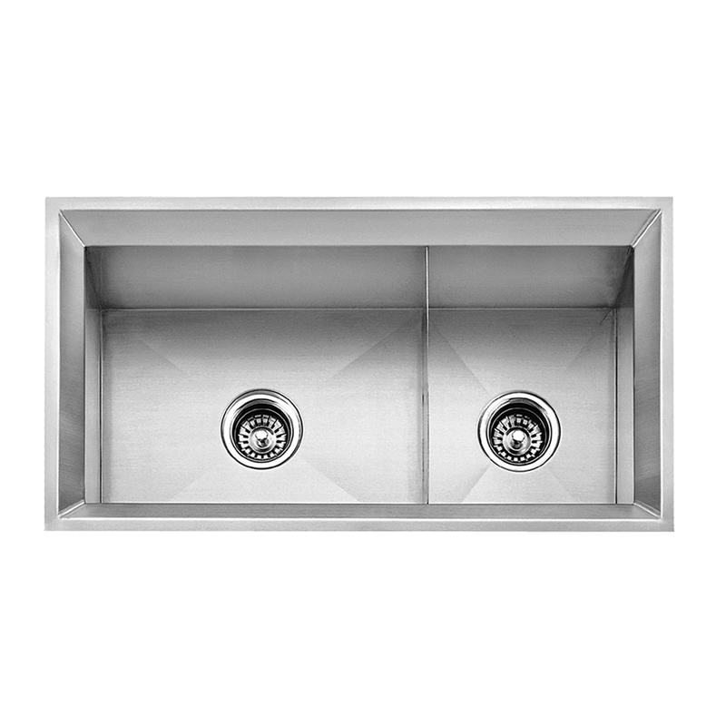 DAX Handmade 60/40 Double Bowl Undermount Kitchen Sink, 16 Gauge Stainless Steel, Brushed Finish, 33 x 18 x 9-1/2 Inches (DAX-SQ-3318A)