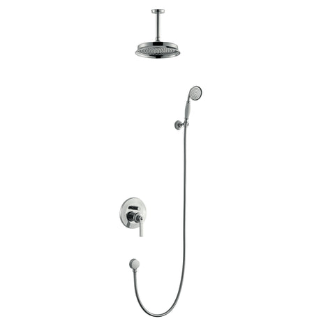 DAX Shower System, Round Rainfall Shower Head with Shower Trim Mixer and Hand Shower, Wall Mount, Brass Body, Chrome Finish with White Handle (DAX-8339-CR)