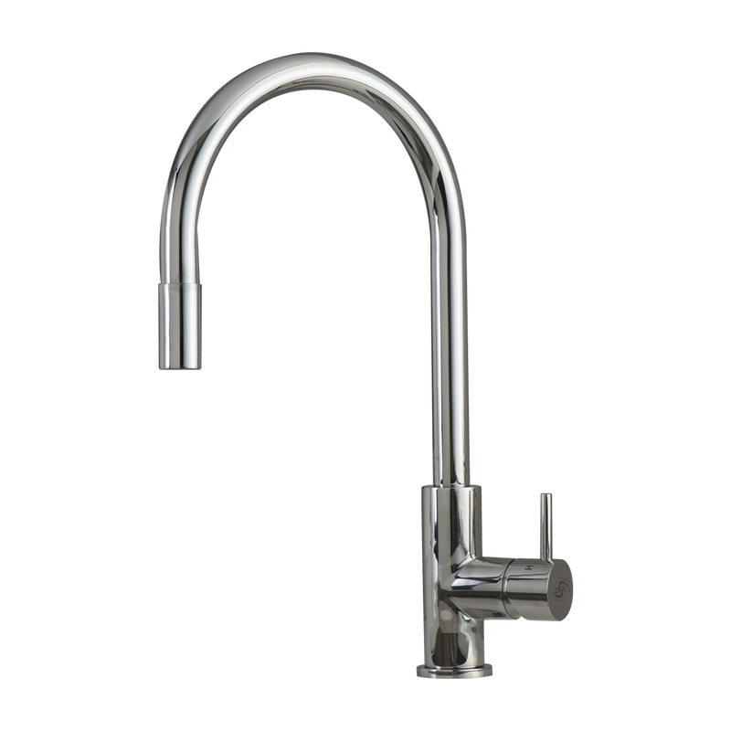 DAX Single Handle Pull Down Kitchen Faucet, Stainless Steel Shower Head and Body, Chrome Finish, Size 8-11/16 x 16-9/16 Inches (DAX-003-02-CR)