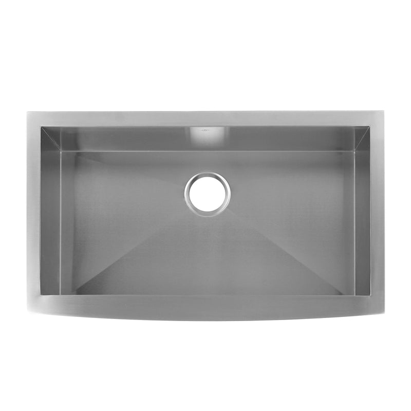 DAX Farmhouse Kitchen Sink, 18 Gauge Stainless Steel, Brushed Stainless Steel Finish, 35-7/8 x 20-3/4 x 10 Inches (KA-SQ-3621)
