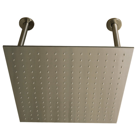 DAX Ceiling Mounted Square Rain Shower Head, Ultra Thin, Brass Body, Brushed Nickel Finish (D-114040B-BN)
