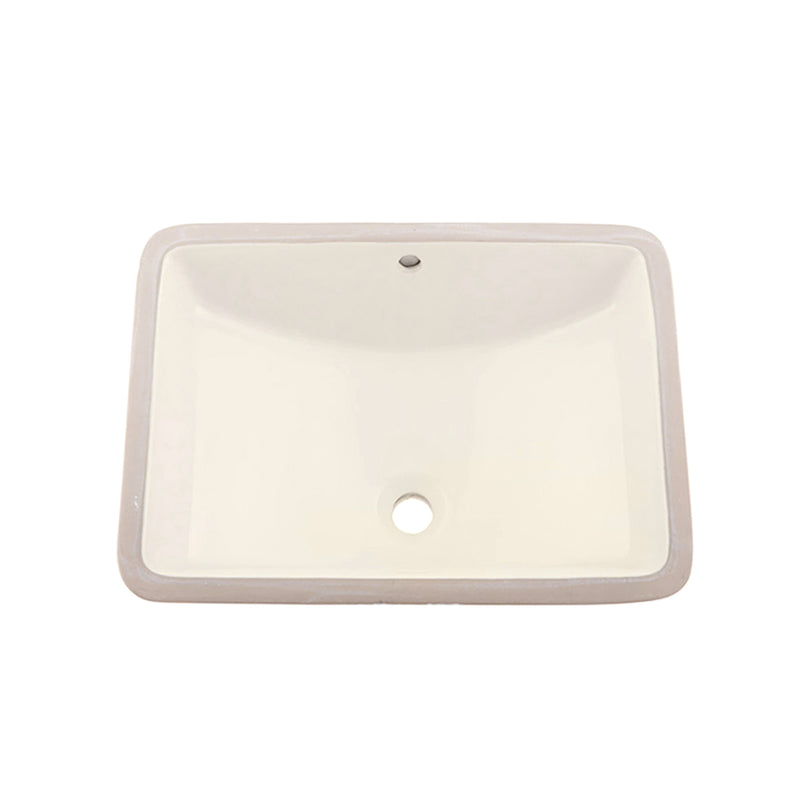 DAX Ceramic Square Single Bowl Undermount Bathroom Sink, Ivory Finish, 22-1/6 x 15-1/2 x 8-5/16 Inches (BSN-202G-I)