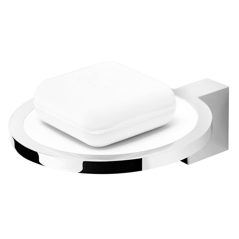 COSMIC Project Soap Dish, Wall Mount, Brass Body with Plastic, Chrome - White Finish, 4-1/2 x 1-3/4 x 5-1/2 Inches (2515132)