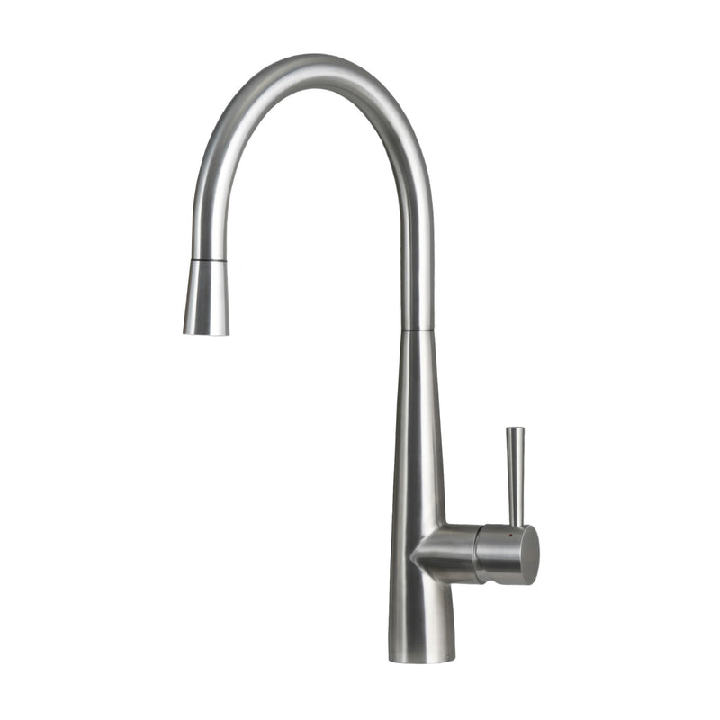 DAX Single Handle Pull Down Kitchen Faucet, Stainless Steel Shower Head and Body, Brushed Finish, Size 9 x 17-9/16 Inches (DAX-S1087P)