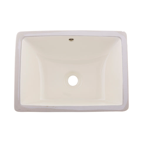 DAX Ceramic Square Single Bowl Undermount Bathroom Sink, Ivory Finish, 18-1/2 x 8-1/16 x 13-9/16 Inches (BSN-202C-I)