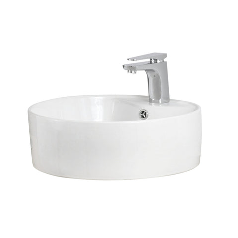 DAX Ceramic Round Single Bowl Bathroom Vessel Sink, White Finish, Ø 18-1/8 x 6 Inches (BSN-222-A)