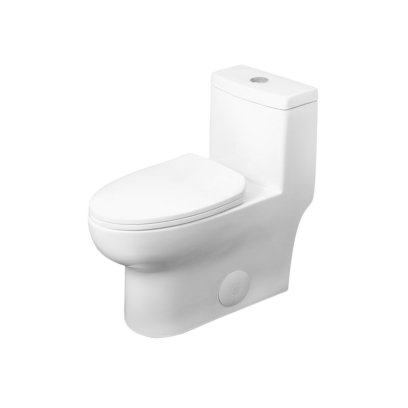 DAX One Piece Oval Toilet with Soft Closing Seat and Dual Flush High-Efficiency, Porcelain, White Finish, Height 28-3/4 Inches (BSN-76)