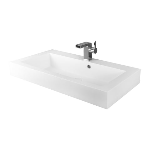 DAX Solid Surface Rectangle Single Bowl Bathroom Vessel Sink, White Matte Finish,  31-1/3 x 18-1/9 x 6-3/4 Inches (DAX-AB-1021)