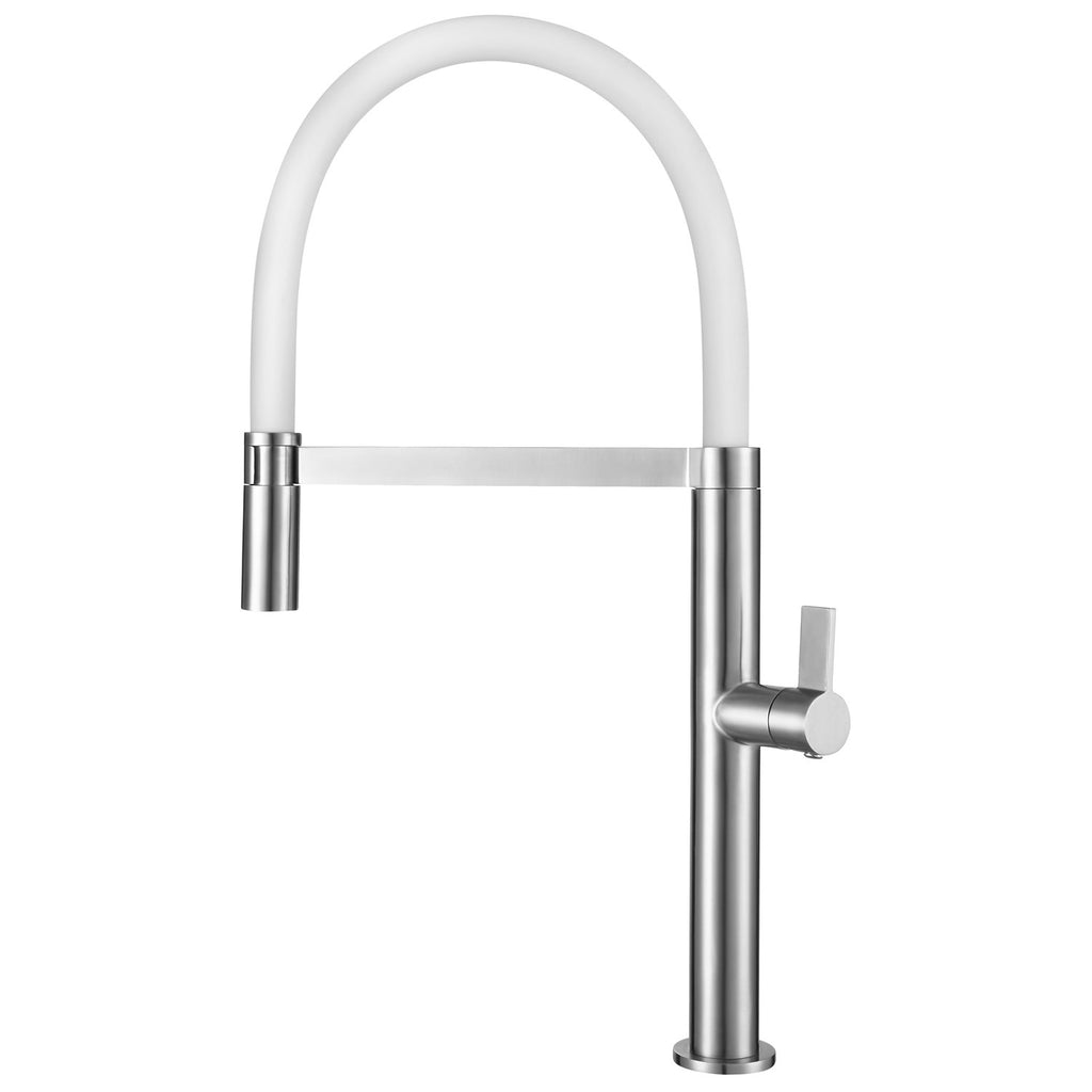 DAX Single Handle Pull Out Kitchen Faucet, Stainless Steel Shower Head and  Body, Brushed Finish, White, Size 8-13/16 x 20-3/8 Inches (DAX-C107W)