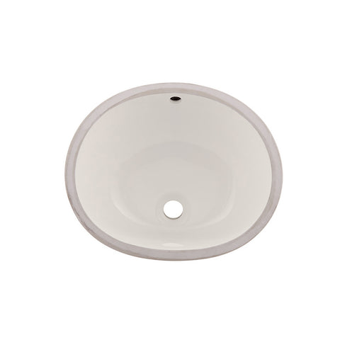 DAX Ceramic Oval Single Bowl Undermount Bathroom Sink, Ivory Finish, 18 x 14-3/4 x 7-1/2 Inches (BSN-205B-I)