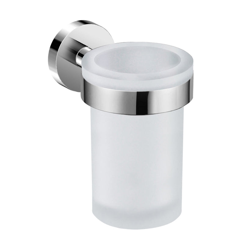 DAX Valencia Bathroom Single Tumbler Toothbrush Holder, Wall Mount, Tempered Glass Cup, Chrome Finish, 3 x 4-3/4 x 4-7/16 Inches (DAX-GDC120152-CR)
