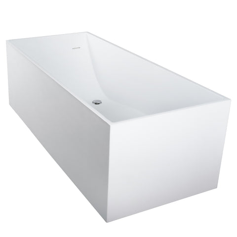 DAX Square Freestanding Solid Surface Bathtub with Central Drain and Overflow, Stainless Steel Frame, 66-1/8 x 21-5/8 x 28-9/16 Inches (BT-AB-B029)