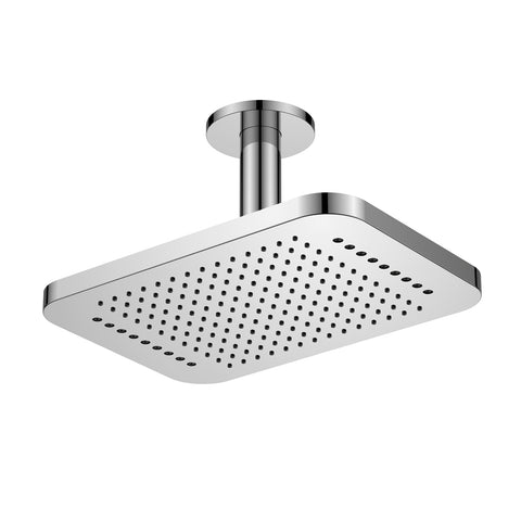 DAX Ceiling Mounted Square Rain Shower Head with Shower Arm, Chrome Finish, 12-1/4 x 8-9/16 Inches (DAX-B16-CR)