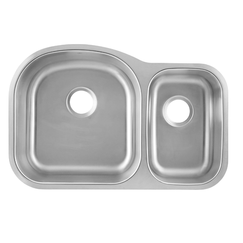 DAX 70/30 Double Bowl Undermount Kitchen Sink, 18 Gauge Stainless Steel, Brushed Finish , 31-1/2 x 20-1/2 x 9 Inches (DAX-3121L)