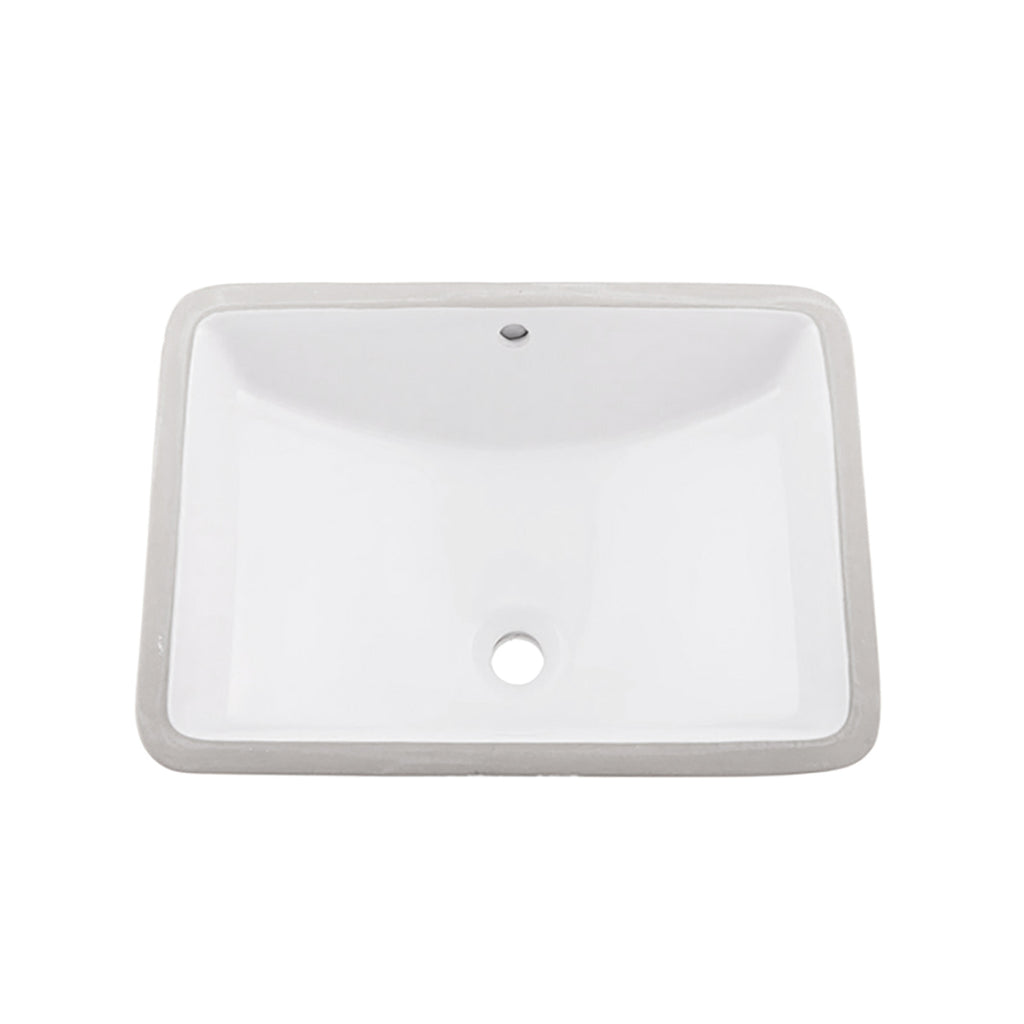 Dax Ceramic Square Single Bowl Undermount Bathroom Sink White Finish