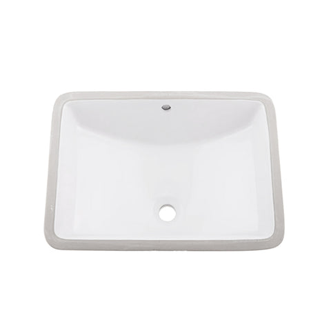 DAX Ceramic Square Single Bowl Undermount Bathroom Sink, White Finish, 22-1/6 x 15-1/2 x 8-5/16 Inches (BSN-202G-W)