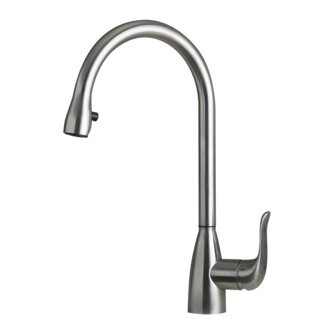 DAX Single Handle Pull Down Kitchen Faucet with Hidden Shower Head, Stainless Steel Body, Brushed Finish, Size 8-3/4 x 16-5/16 Inches (DAX-C17S)