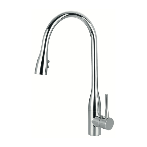 DAX Modern Single Handle Kitchen Faucet, Dual Sprayer, Brass Body, Chrome Finish, Size 8-11/16 x 16-9/16 Inches (DAX-8763)