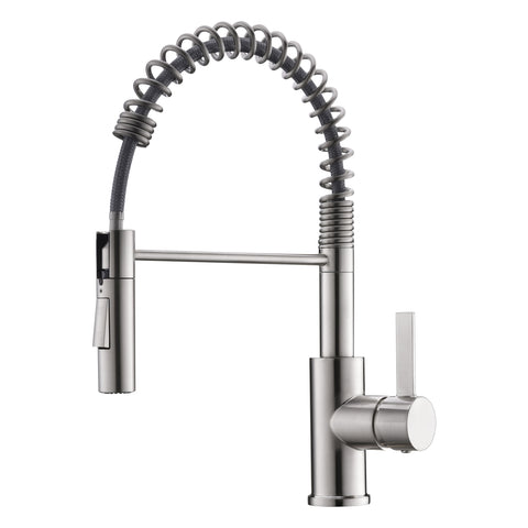 DAX Single Handle Pull Out Kitchen Faucet with Dual Sprayer and Swivel Spout, Brass Body, Brushed Nickel Finish, 8-11/16 x 16 Inches (DAX-6965C-BN)