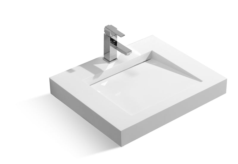 DAX Solid Surface Rectangle Single Bowl Top Mount Bathroom Sink, White Matte Finish, 23-1/4 x 19-5/16 x 3-1/8 Inches (DAX-AB-1330)