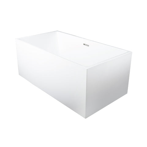 DAX Square Freestanding High Gloss Acrylic Bathtub with Central Drain and Overflow, Stainless Steel Frame, 59-1/16 x 23-5/8 Inches (BT-8013A)
