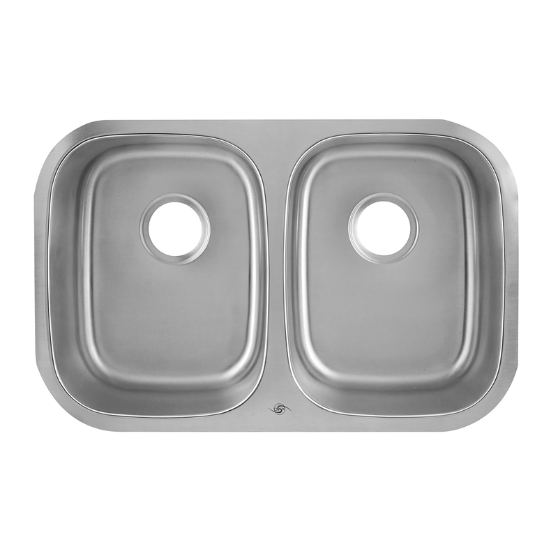 DAX 50/50 Double Bowl Undermount Kitchen Sink, 18 Gauge Stainless Steel, Brushed Finish , 29-1/8 x 18-1/2 x 8 Inches (DAX-2918)