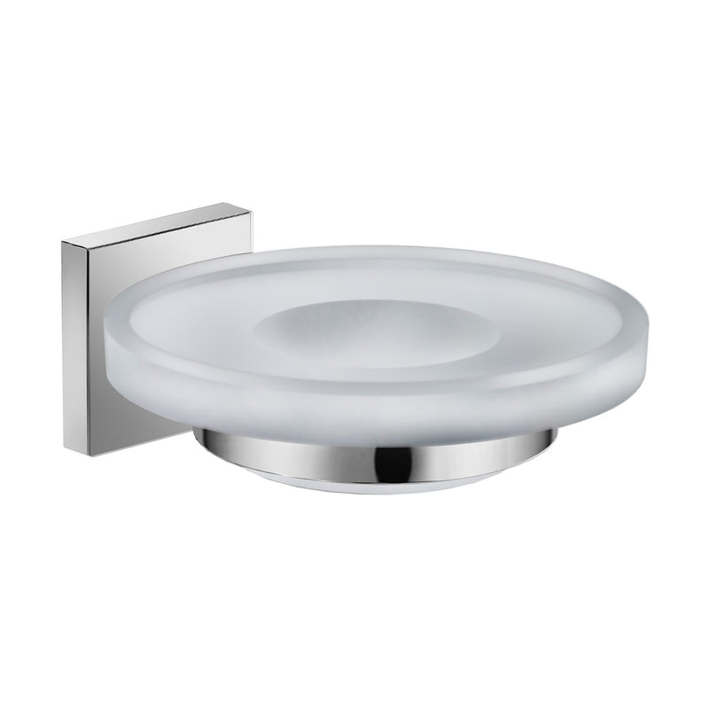 DAX Milano Soap Dish, Tray, Wall Mount, Clear Glass, Brushed Finish, 4-5/16 x 5 x 1-3/4 Inches (DAX-GDC160132-BN)