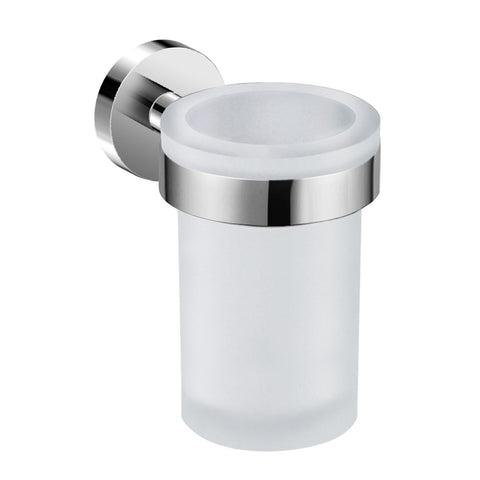DAX Valencia Bathroom Single Tumbler Toothbrush Holder, Wall Mount, Tempered Glass Cup, Brushed Finish, 3 x 4-3/4 x 4-7/16 Inches (DAX-GDC120152-BN)