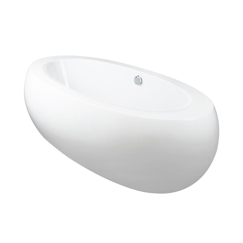 DAX Oval Freestanding High Gloss Acrylic Bathtub with Central Drain and Overflow, Stainless Steel Frame, 74-7/16 x 21-5/8 Inches (BT-8008)