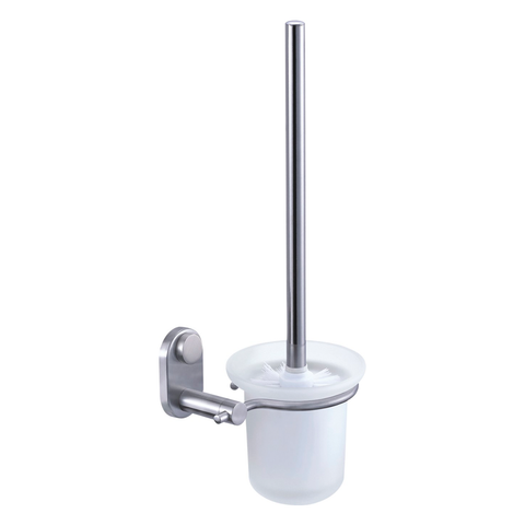DAX- Toilet Brush with Glass Cup, Wall Mount, Stainless Steel, Satin Finish, 4-15/16 x 15-3/8 x 6-13/16 Inches (DAX-G0211-S)
