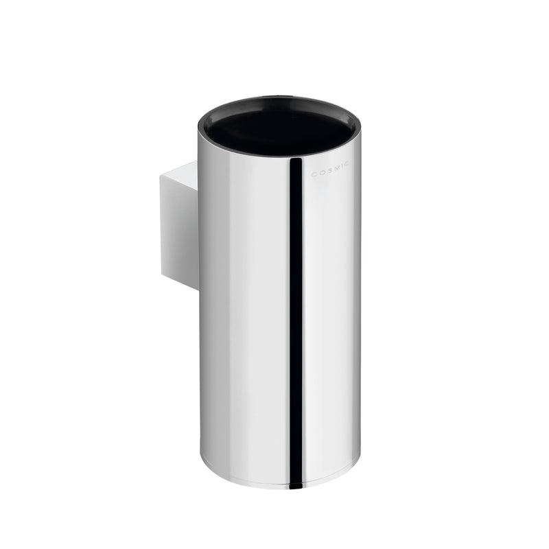 COSMIC Project Bathroom Single Tumbler Toothbrush Holder, Wall Mount, Plastic Cup, Chrome Finish, 2-3/8 x 5-1/2 x 3-9/16 Inches (2510154)