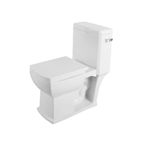 DAX One Piece Square Toilet with Soft Closing Seat and Dual Flush High-Efficiency, Porcelain, White Finish, Height 30-1/8 Inches (BSN-105)
