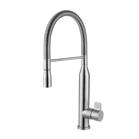 DAX Single Handle Pull Down Kitchen Faucet, Stainless Steel Shower Head and Body, Brushed Finish, Size 9-1/16 x 19-5/16 Inches (DAX-S1095A)