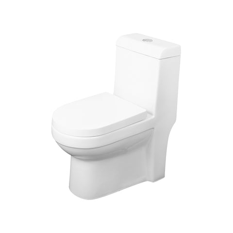 DAX One Piece Square Toilet with Soft Closing Seat and Dual Flush High-Efficiency, Porcelain, White Finish, Height 30-3/4 Inches (BSN-43A)