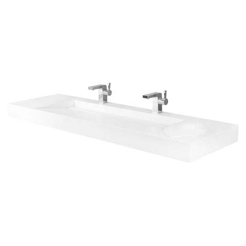 DAX Solid Surface Rectangle Double Bowl Top Mount Bathroom Sink, White Matte Finish, 62-4/5 x 18-7/8 x 4 Inches (DAX-AB-1371)