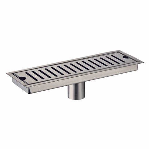DAX Rectangle Shower Floor Drain, Stainless Steel Body, Brushed Nickel Finish, 23-5/8 x 3-15/16 Inches (D-R103-L60)