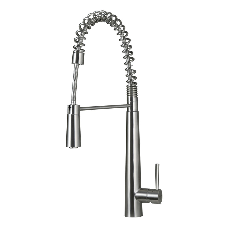 DAX Single Handle Pull Down Kitchen Faucet, Stainless Steel Shower Head and Body, Brushed Finish, Size 9 x 24-13/16 Inches (DAX-001-03)