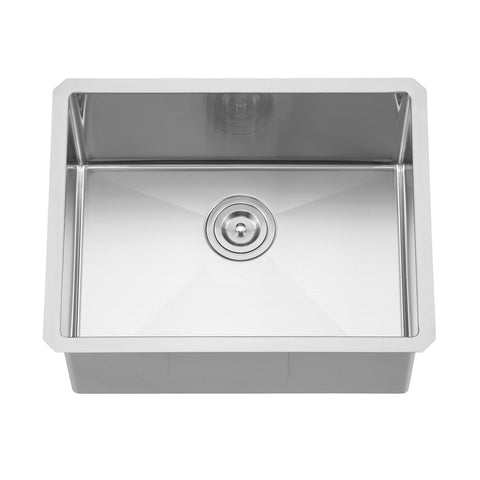DAX Handmade Single Bowl Undermount Kitchen Sink, 18 Gauge Stainless Steel, Brushed Finish, 23 x 18 x 10 Inches (DAX-2318R10)