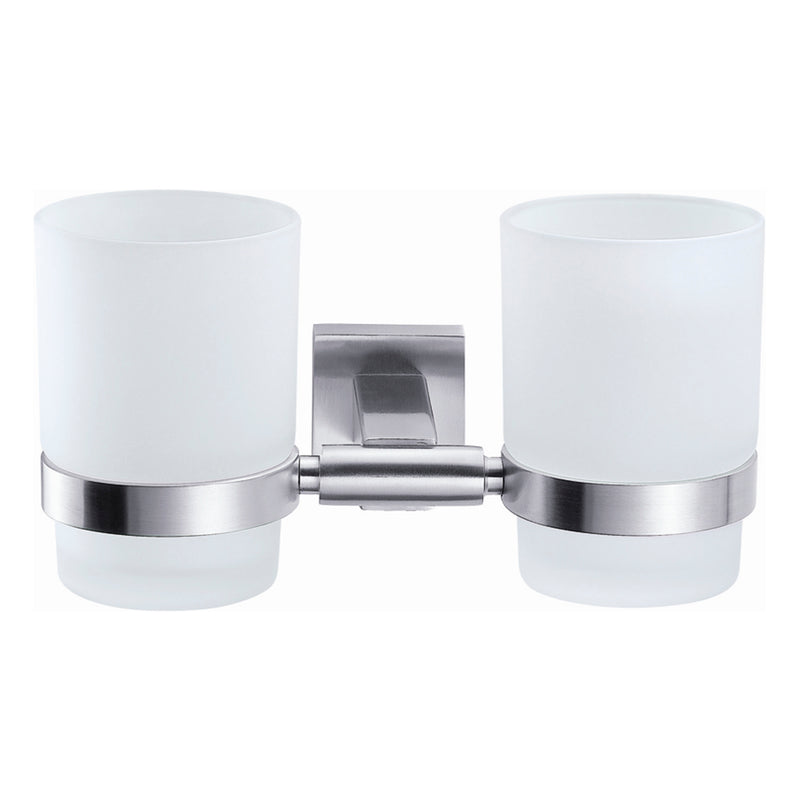 DAX Bathroom Double Tumbler Toothbrush Holder, Wall Mount Stainless Steel with Glass Cup, Satin Finish, 7-1/16 x 3-3/4 x 3-3/4 Inches (DAX-G0114-S)