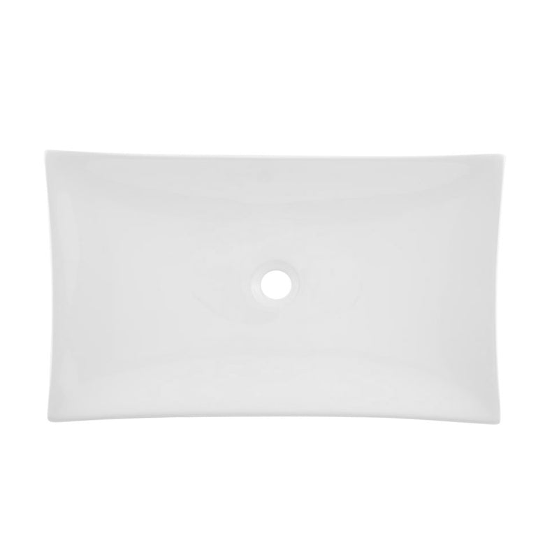 DAX Ceramic Rectangle Single Bowl Bathroom Vessel Sink, White Finish, 25-3/4 x 15-1/2 x 5-1/4 Inches (BSN-280B)